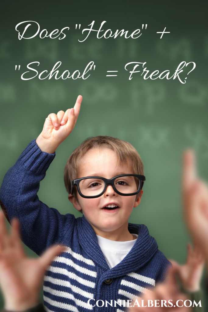 "Does ""home"" + ""school"" = freak? Hear from a homeschool graduate. ConnieAlbers.com"